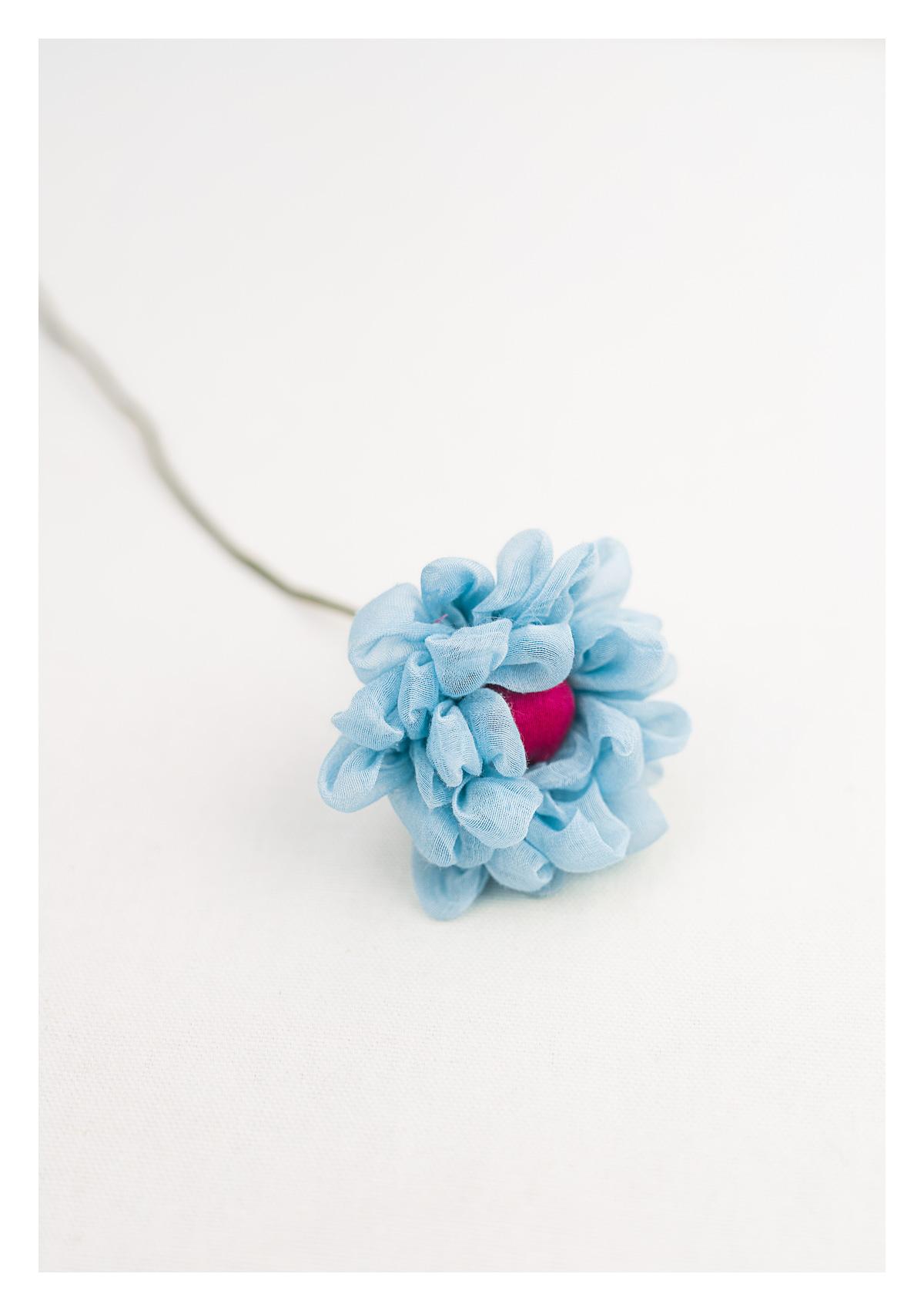 Cool Blue Textile Flower Stem