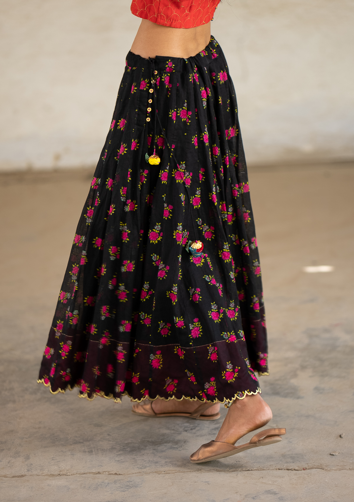 Wabisabi Black Ghagra Skirt