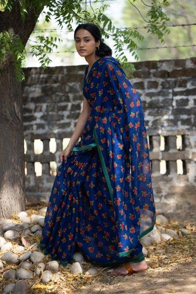 Wishing Blue Cotton Saree