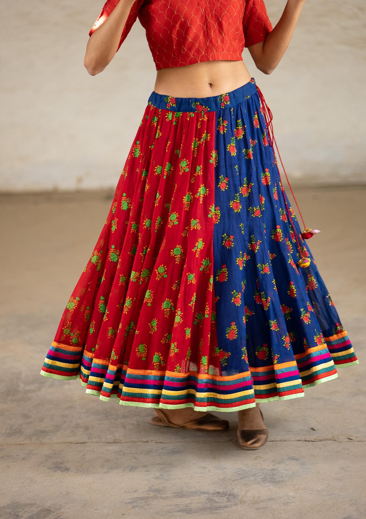 Flaneur Red Blue Ghagra Skirt