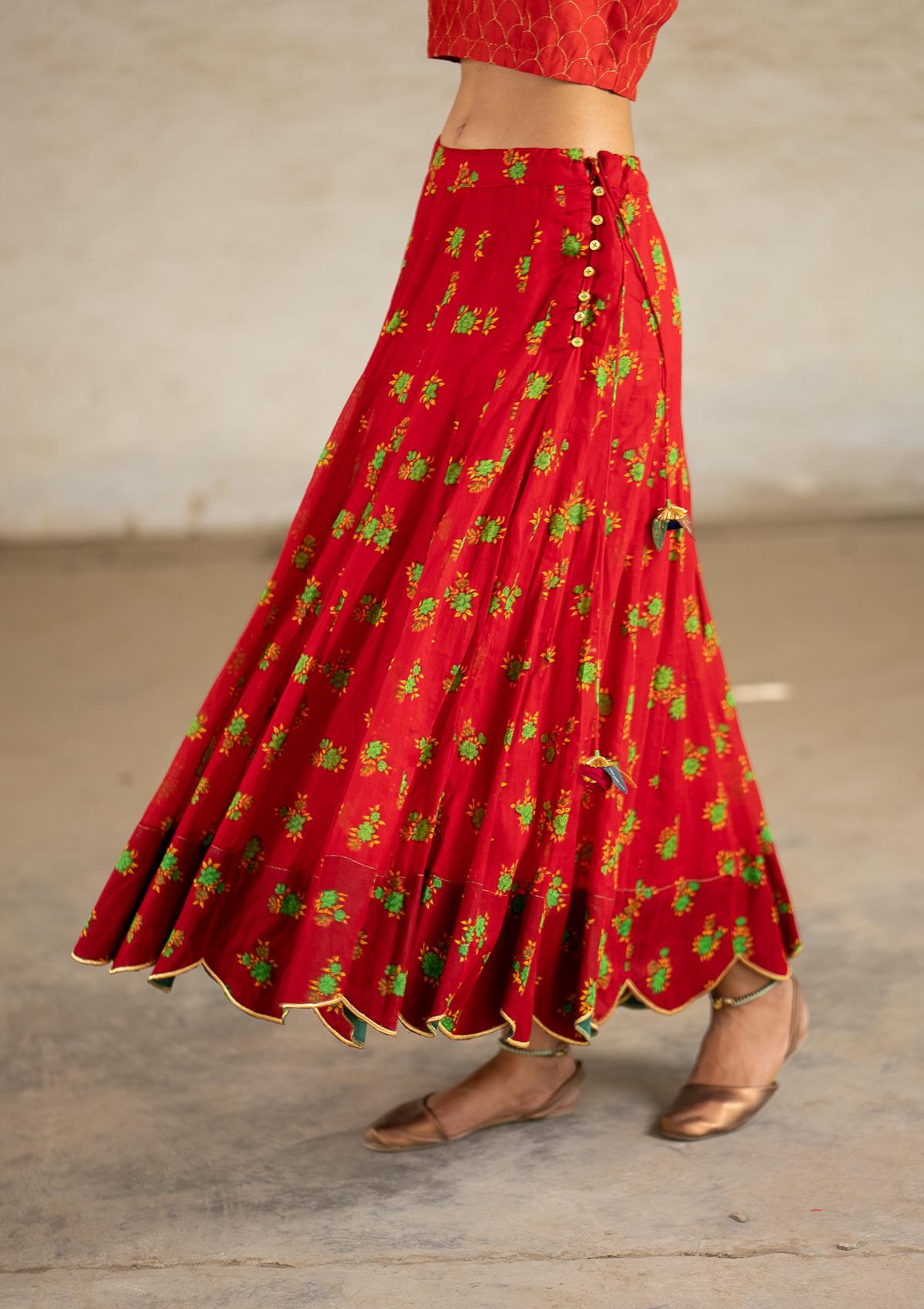 Seirein Red Ghagra Skirt