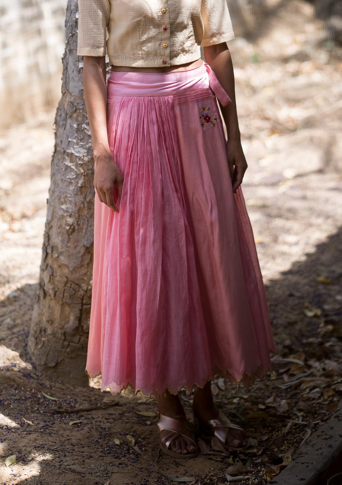 Meraki Pink Reversible Wrap Skirt