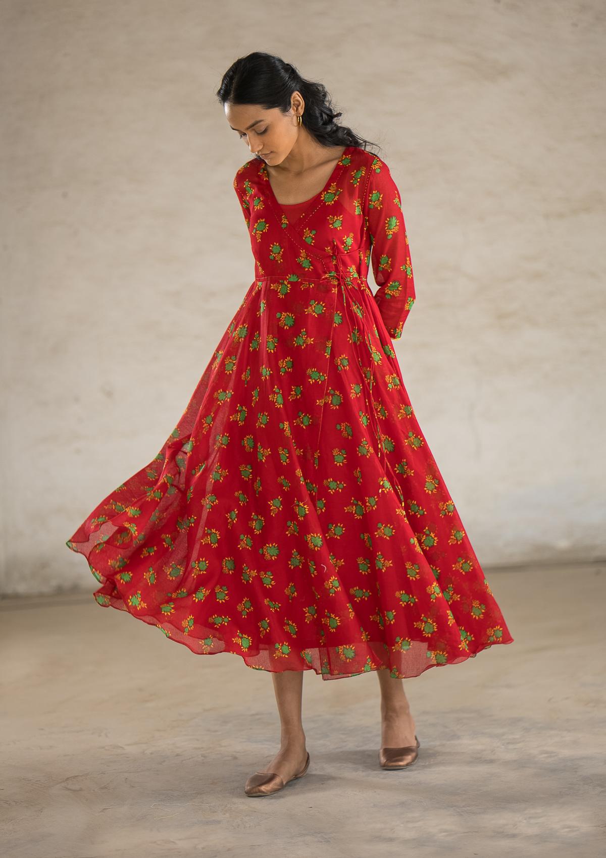 Scintilla Red Cotton Dress