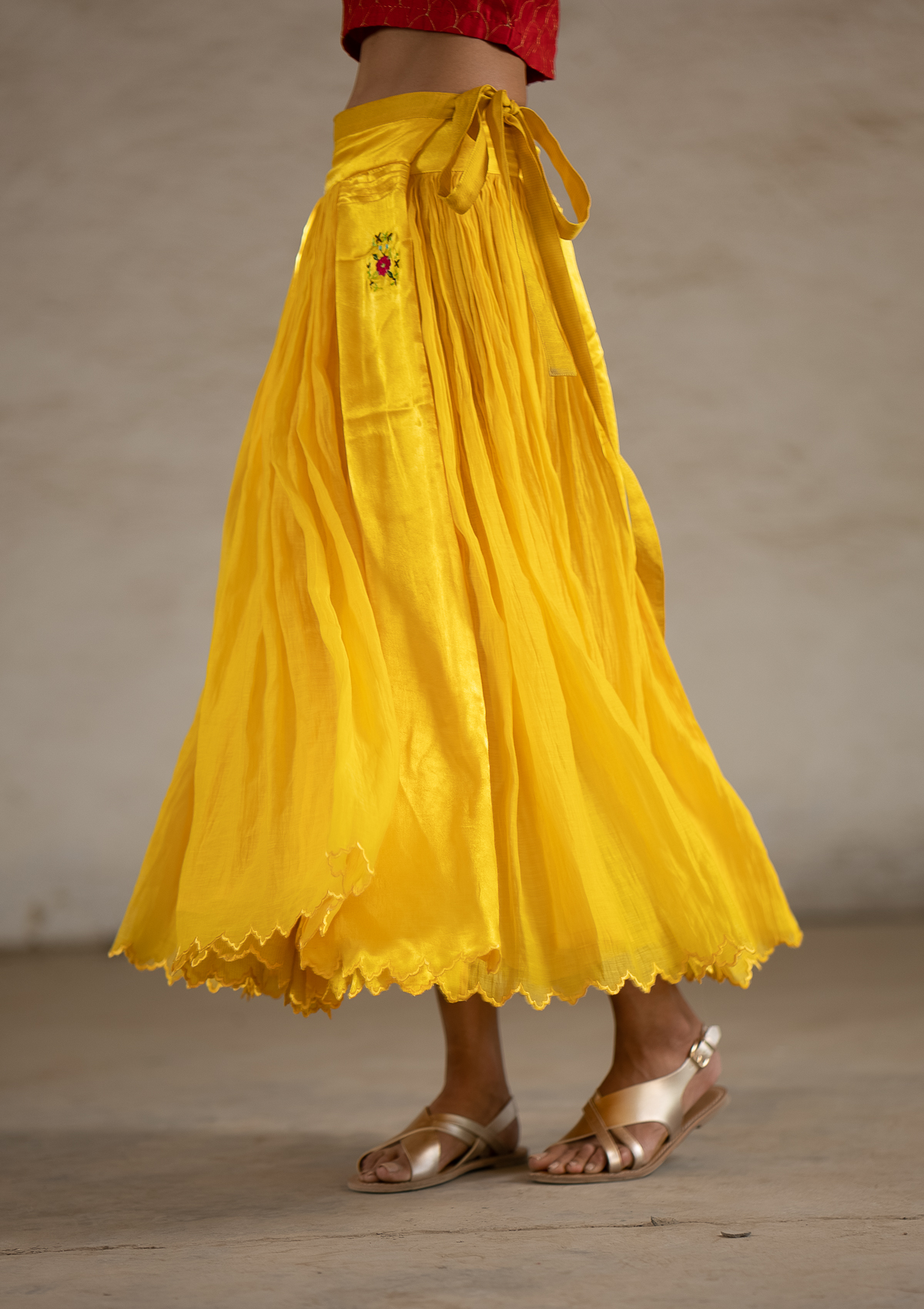 Lagom Yellow Reversible Wrap Skirt