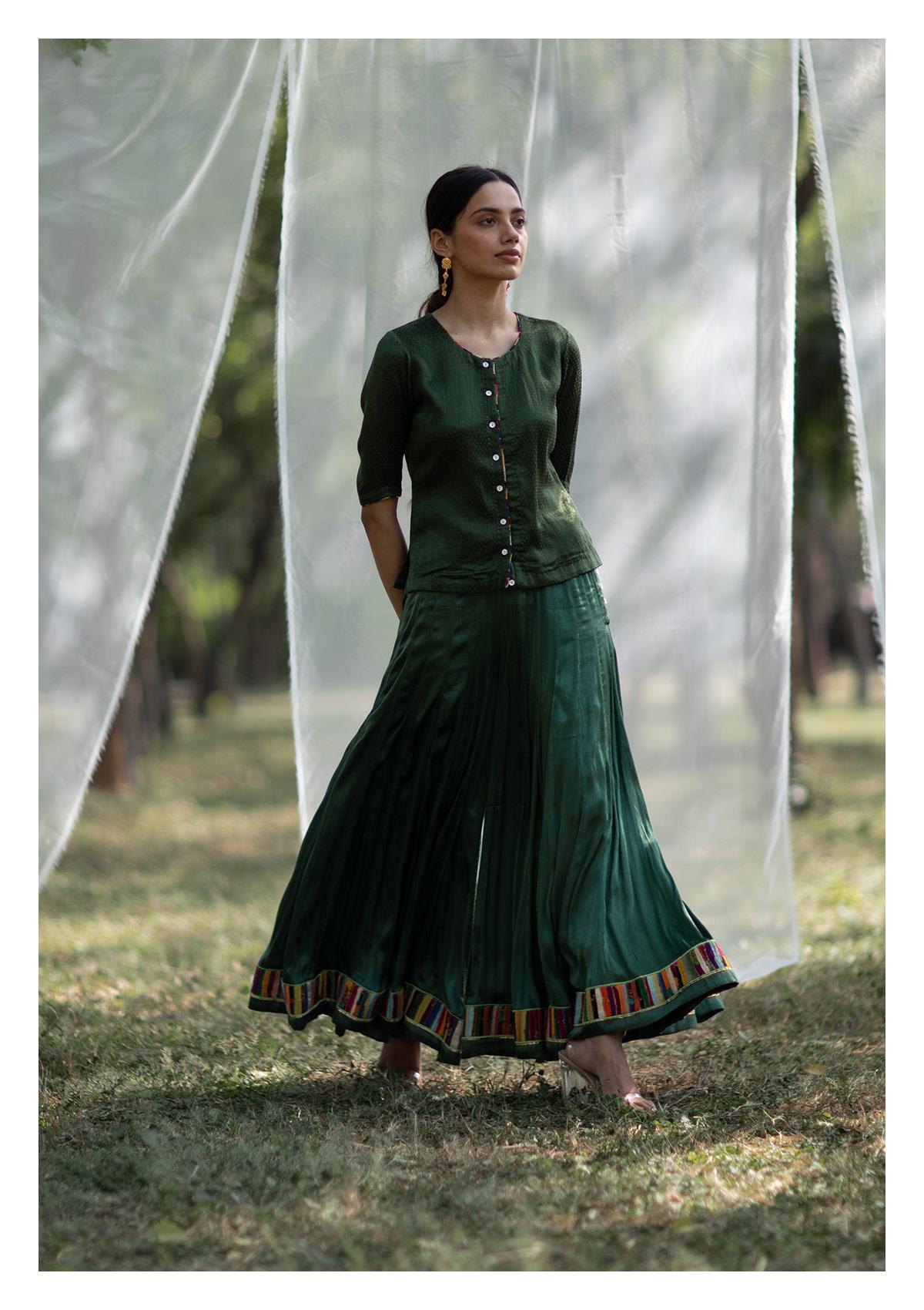 Khulma Green Blouse Sharara & Dupatta Set