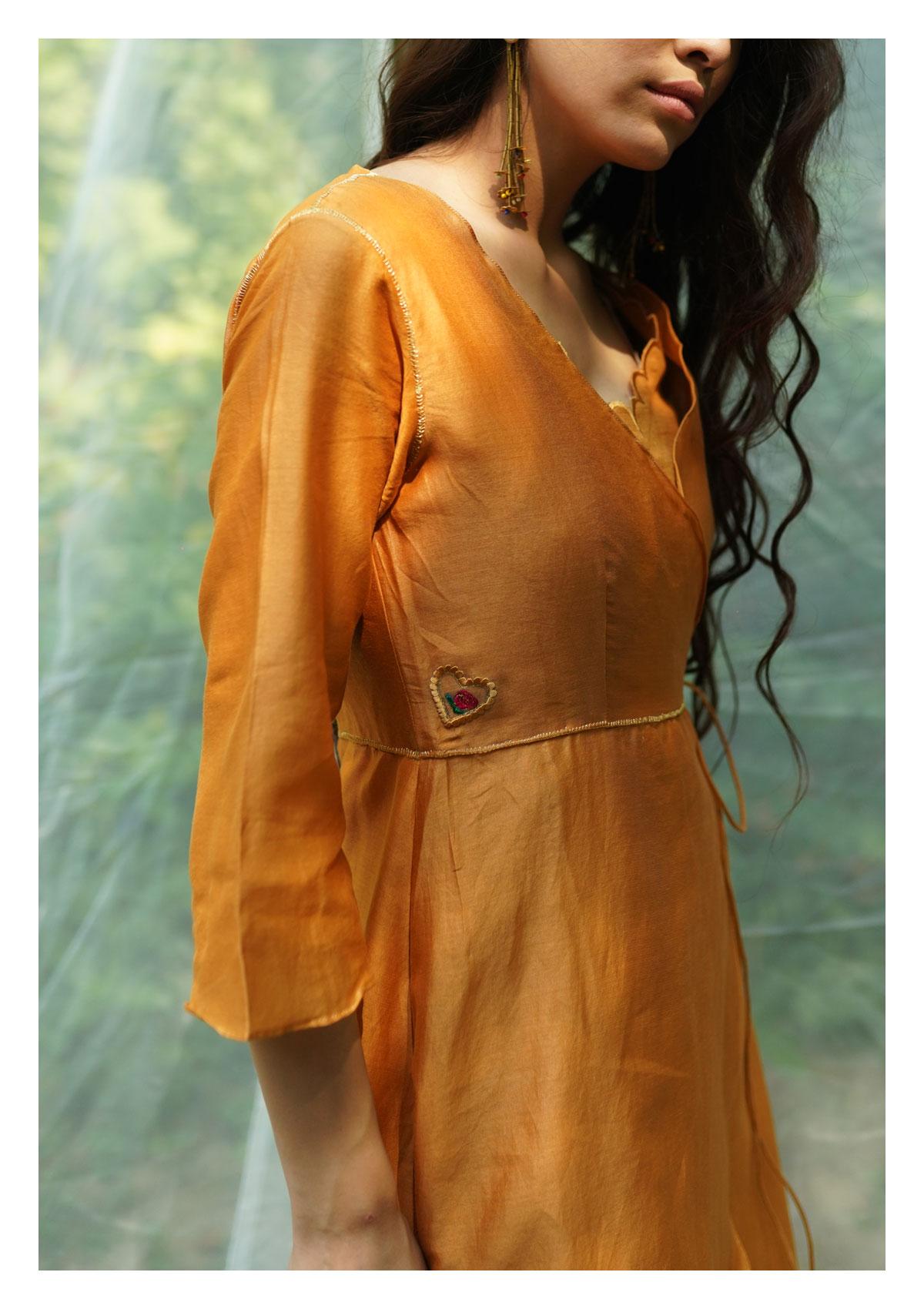 Cassia Mustard Chanderi Wrap Dress