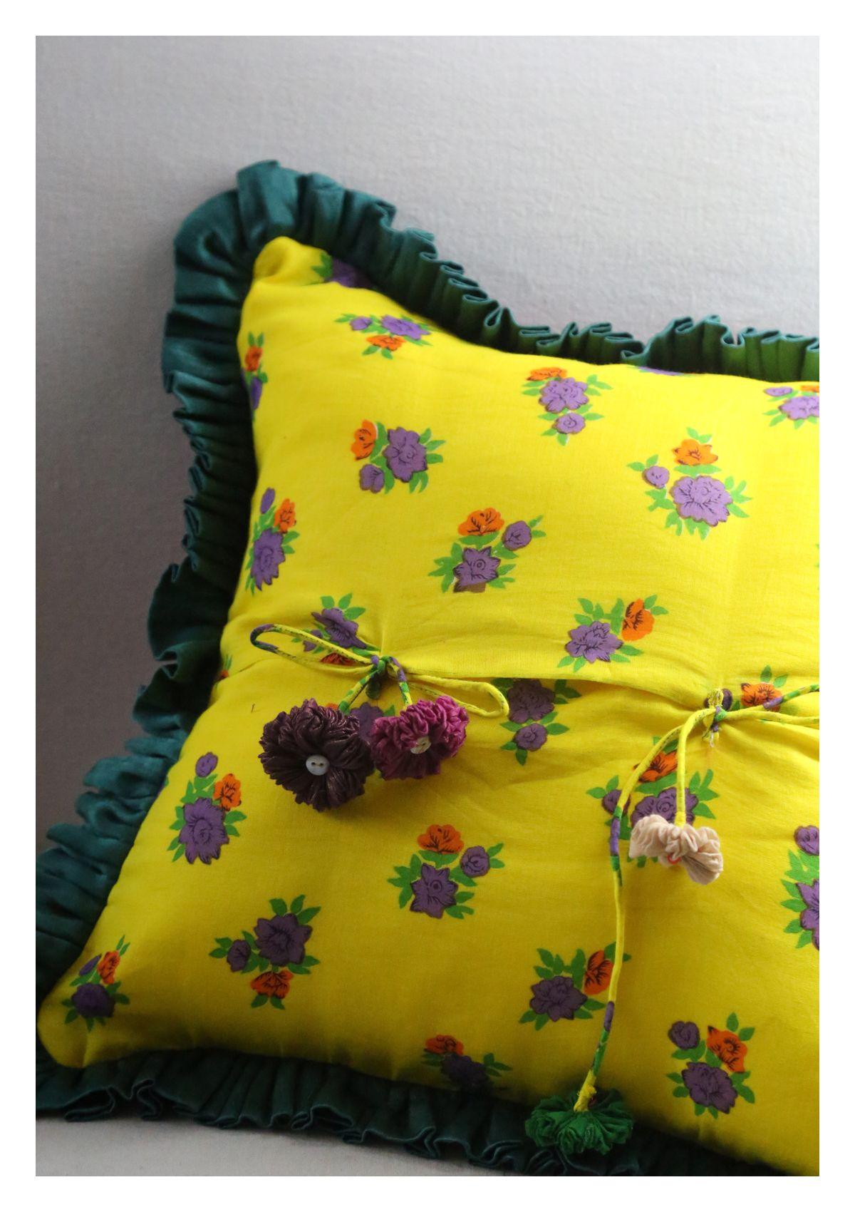 Atha Yellow Mashru Silk Cushion Cover