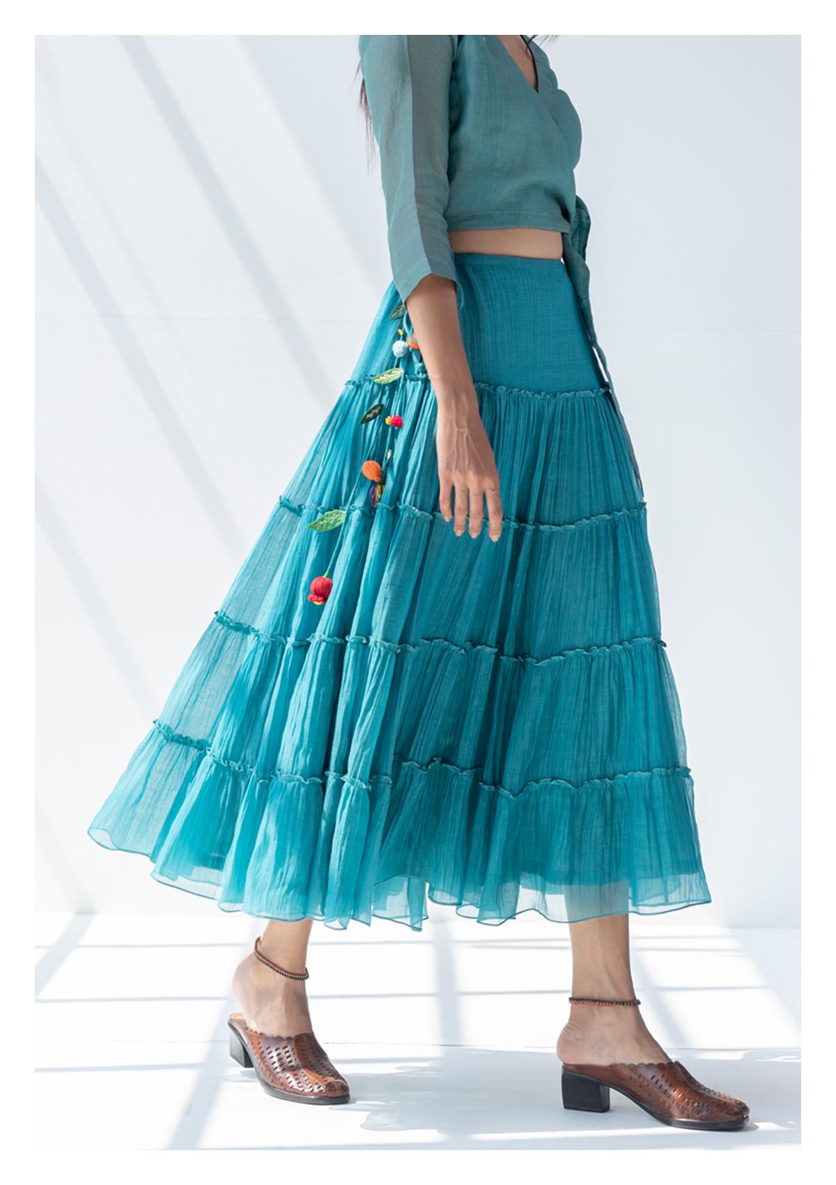 Khasa Teal Tier Chanderi Skirt