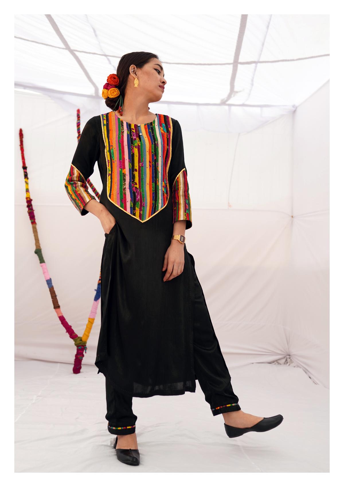 Pocho Black Mashru Kurta Pants Set