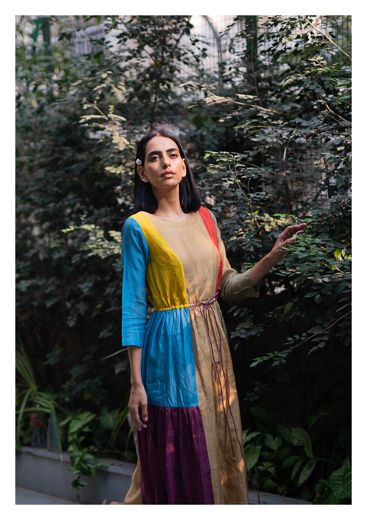 Cayo Multicolored Chanderi Dress