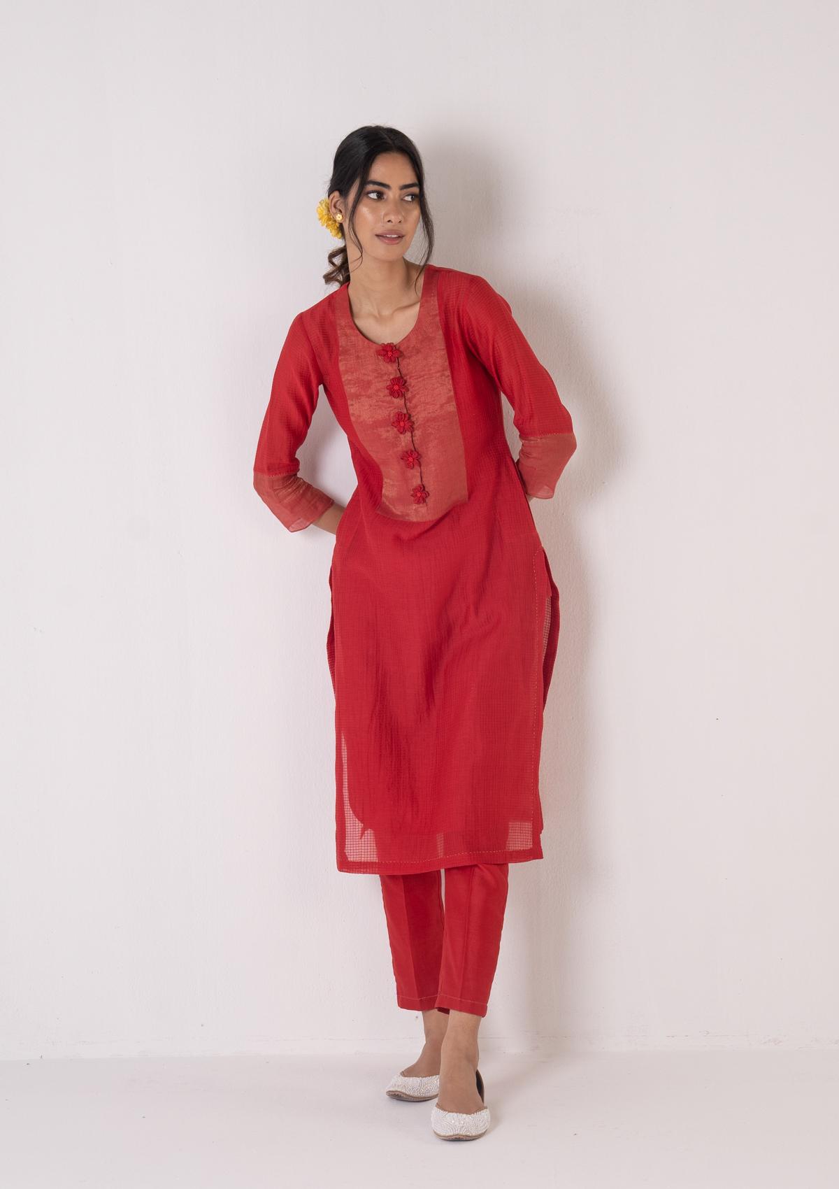 Roshi Red Kurta Pants Set