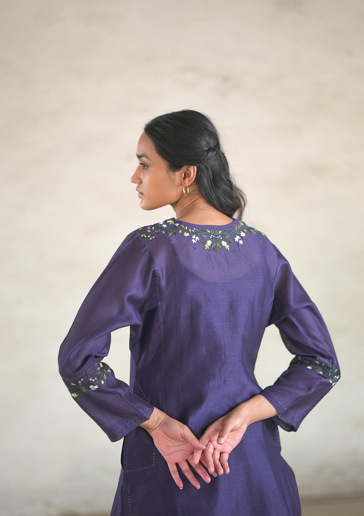 Bargad Purple Chanderi Kurta
