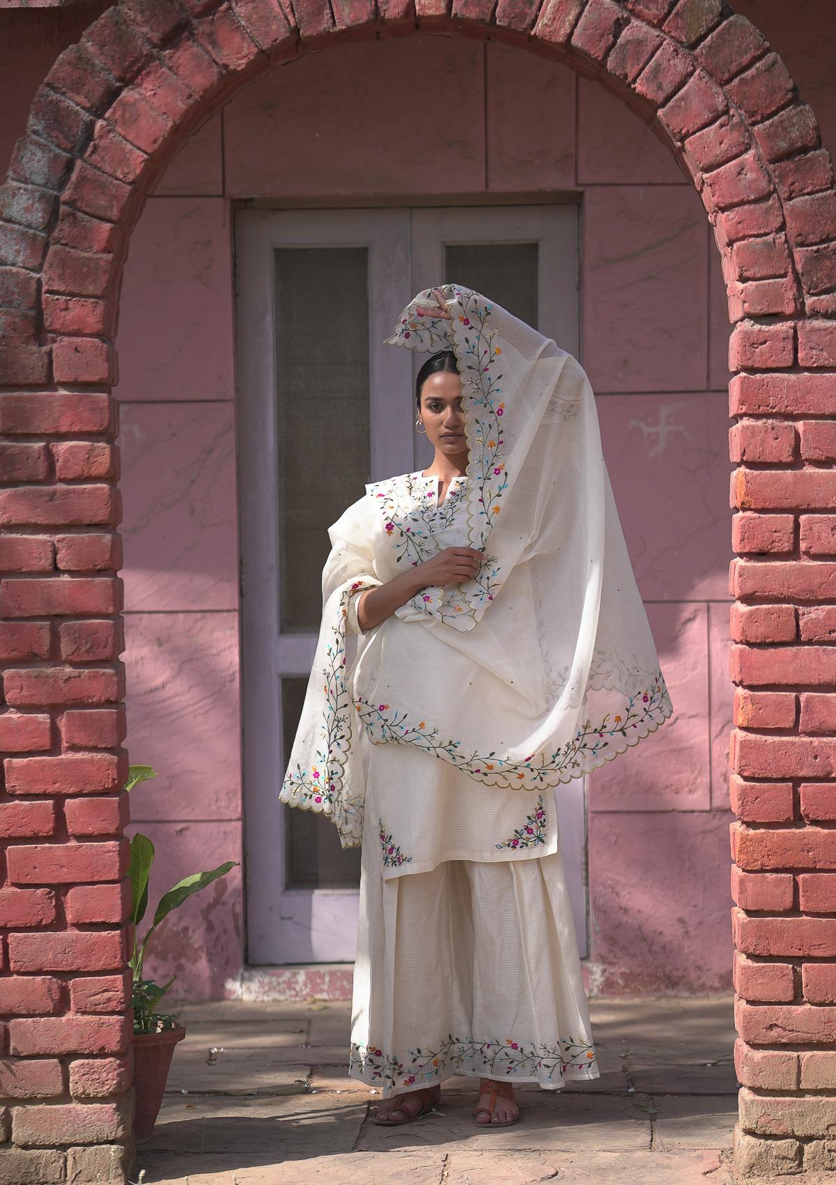 Santulum Cream Chanderi Kurta & Pants Set