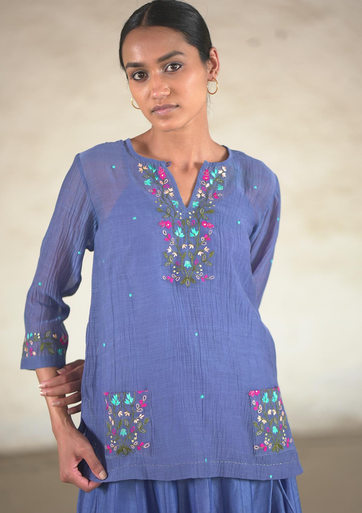 Gumar Blue Chanderi Blouse & Skirt Set