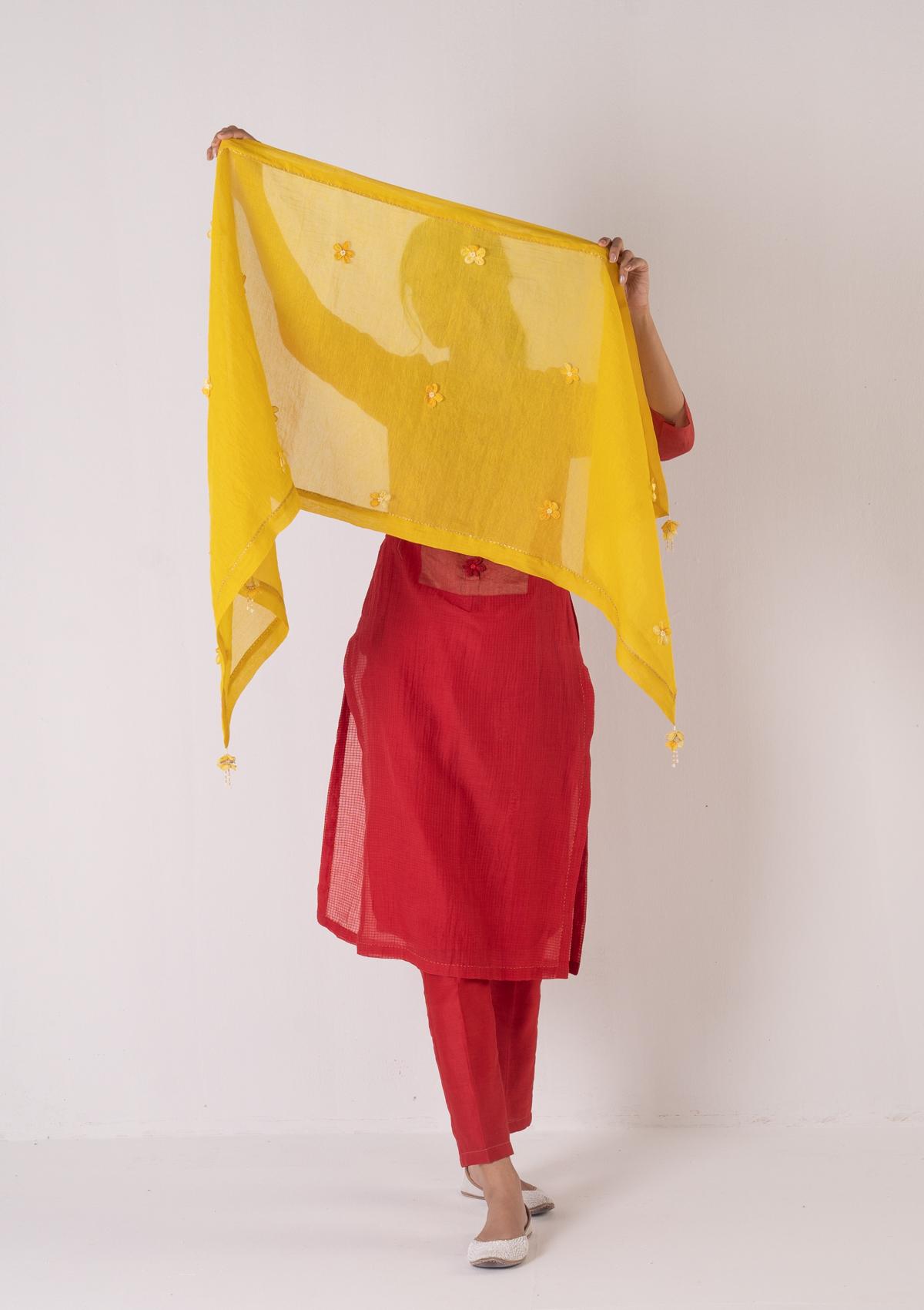 Pavi Yellow Tissue Chanderi Stole