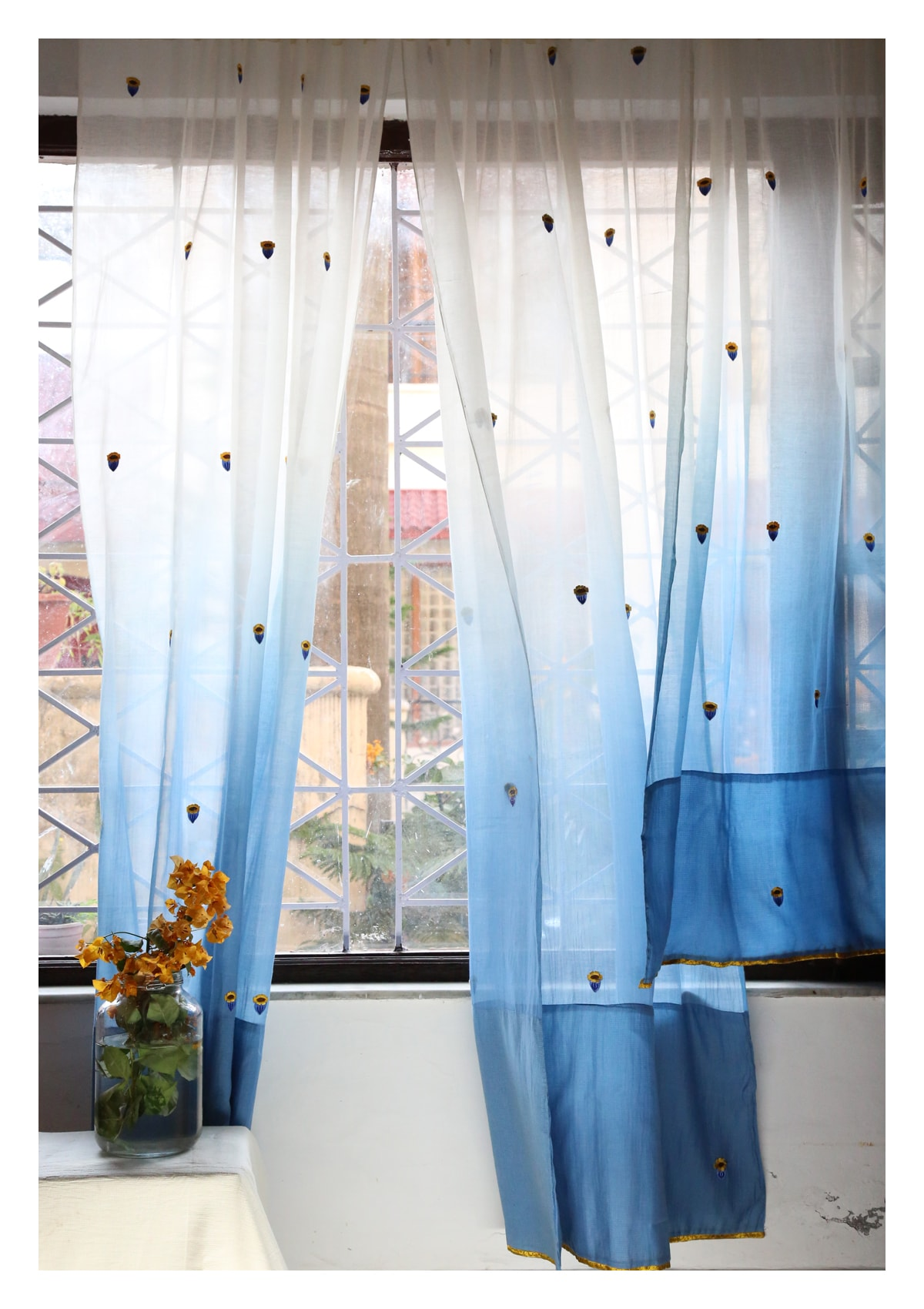 Chandrama Blue Sheer Curtain