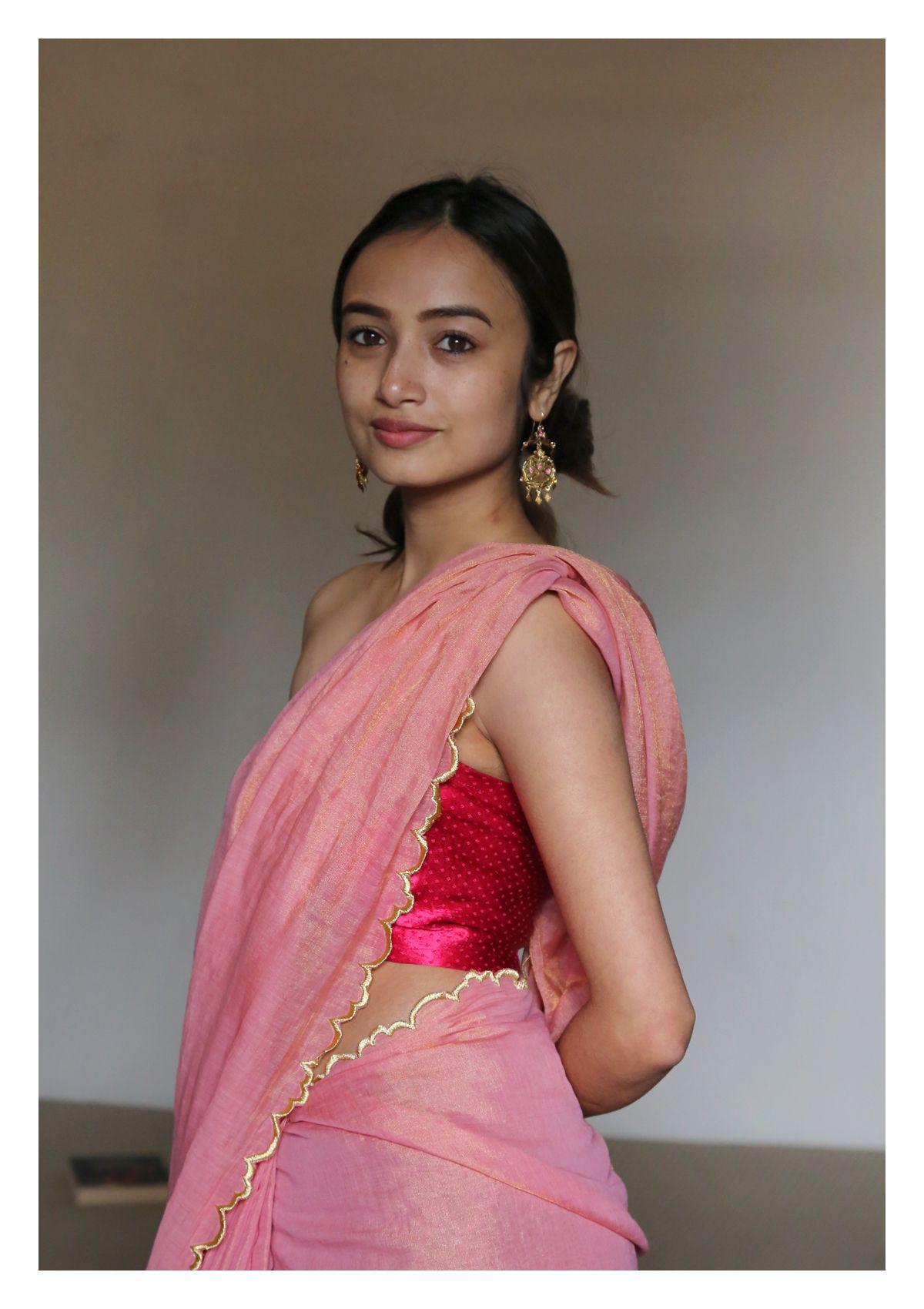 Sorbet Pink Gold Chanderi Tissue Saree