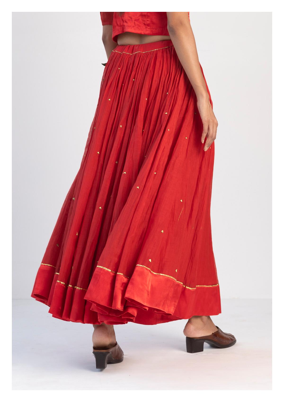 Kurma Red Chanderi Skirt