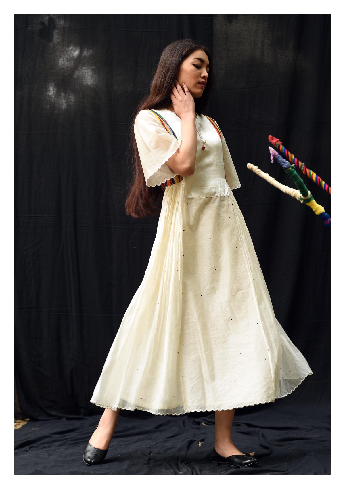 Premi Cream Chanderi Silk Dress