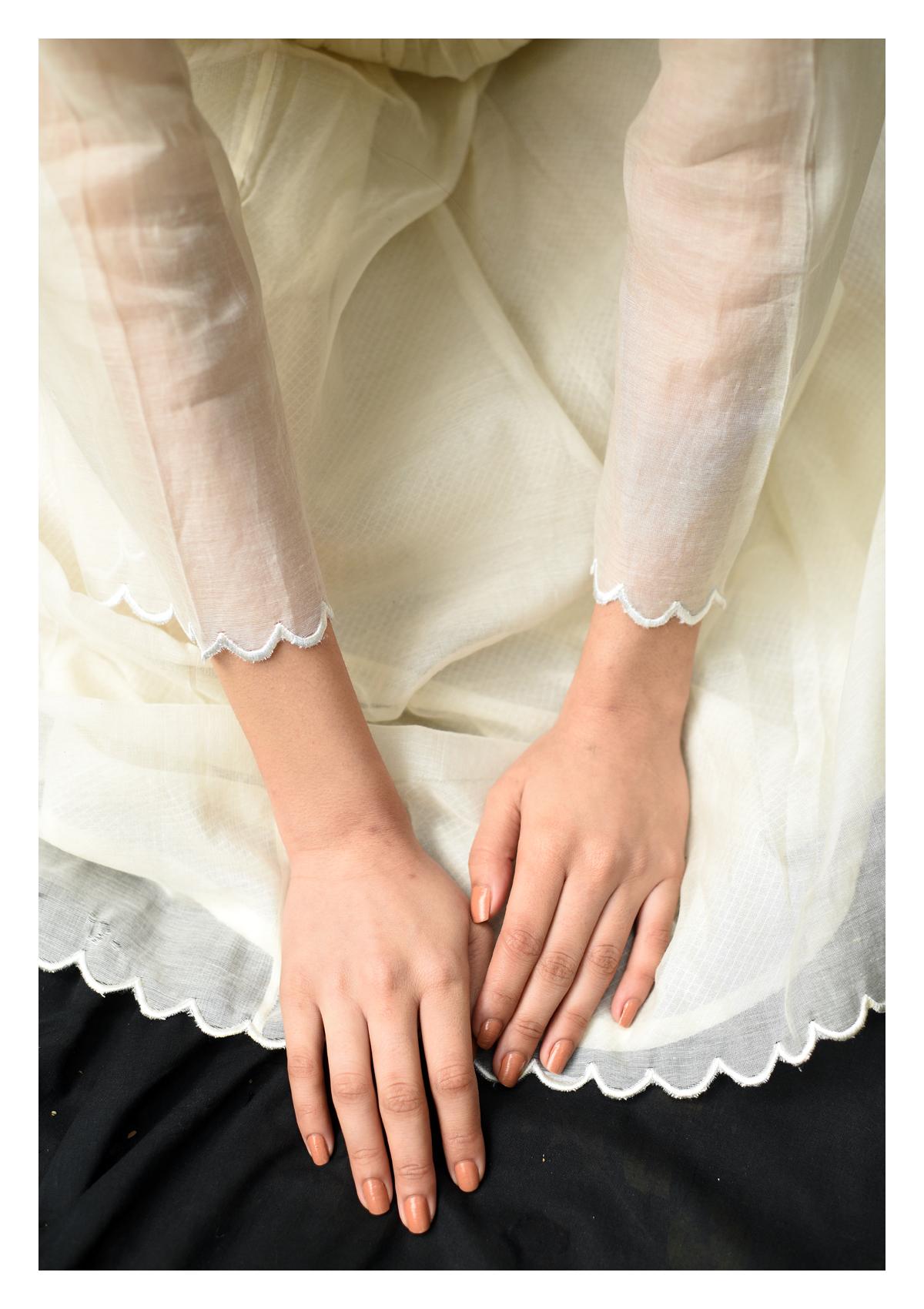 Nasiba Cream Mashru Silk Dress