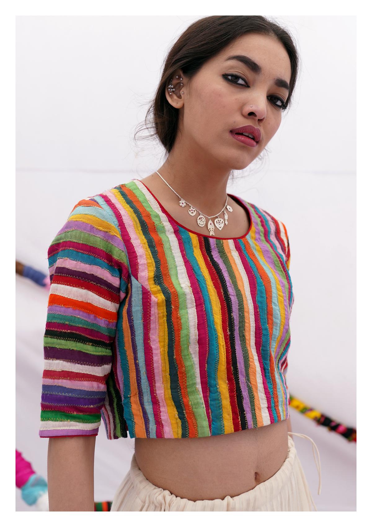 Tahevara Textured Multicolor Crop Top