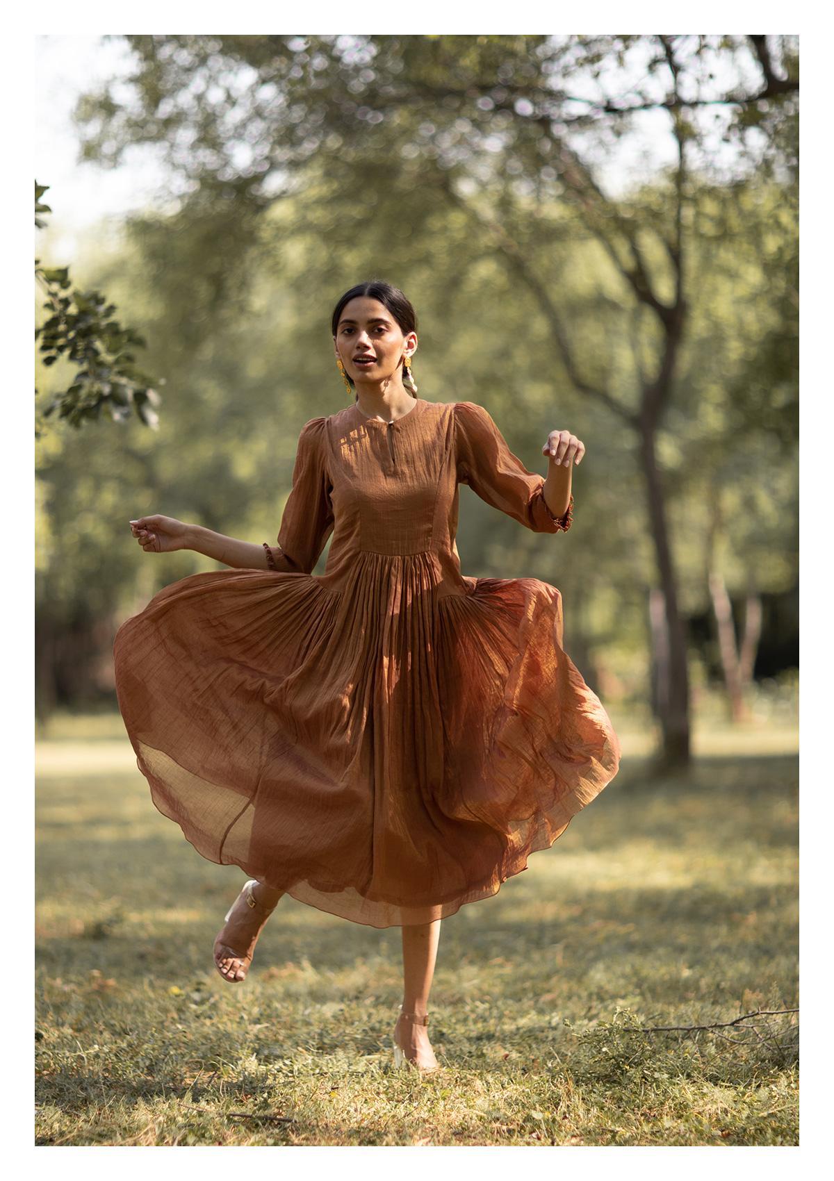 Dhora Brown Tissue Dress