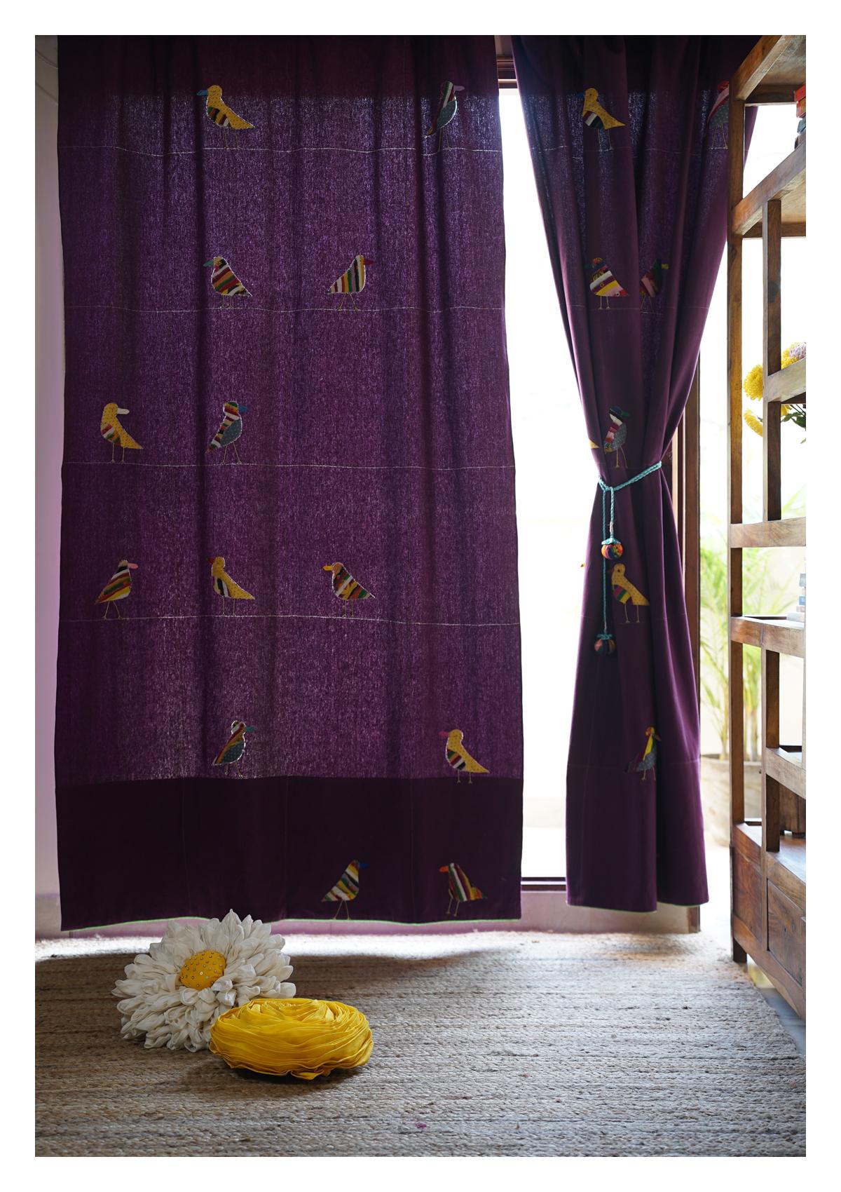 Indian Roller Purple canvas Curtain