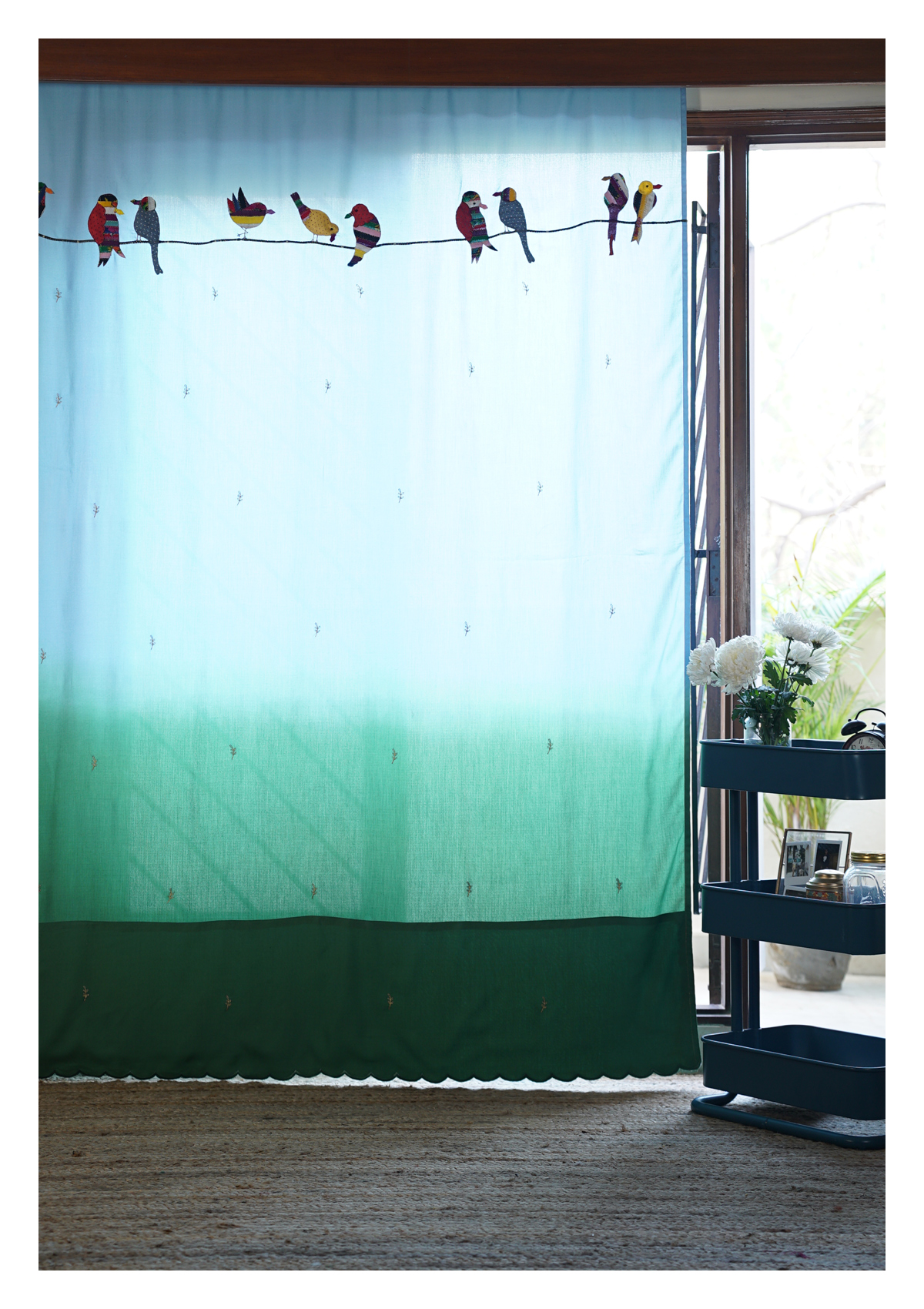 Kingfisher Ombre Blue Cotton Curtain