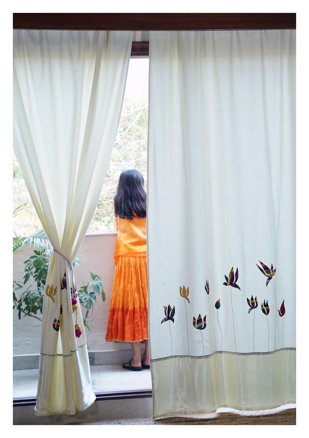 Sacred Lotus Creme Canvas Curtain