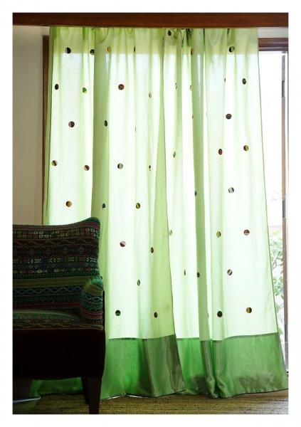 Starlight Green Linen Curtain