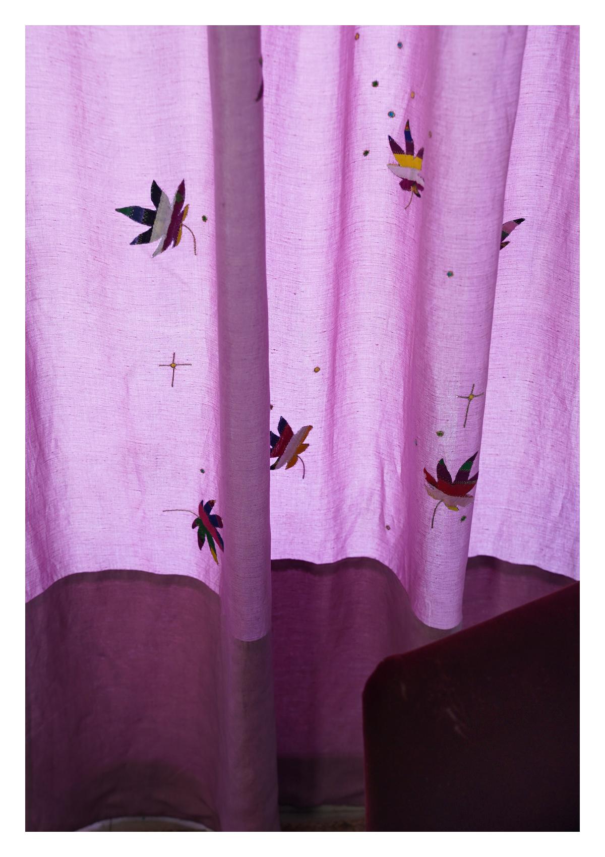 Cannabis lavender Linen Curtain