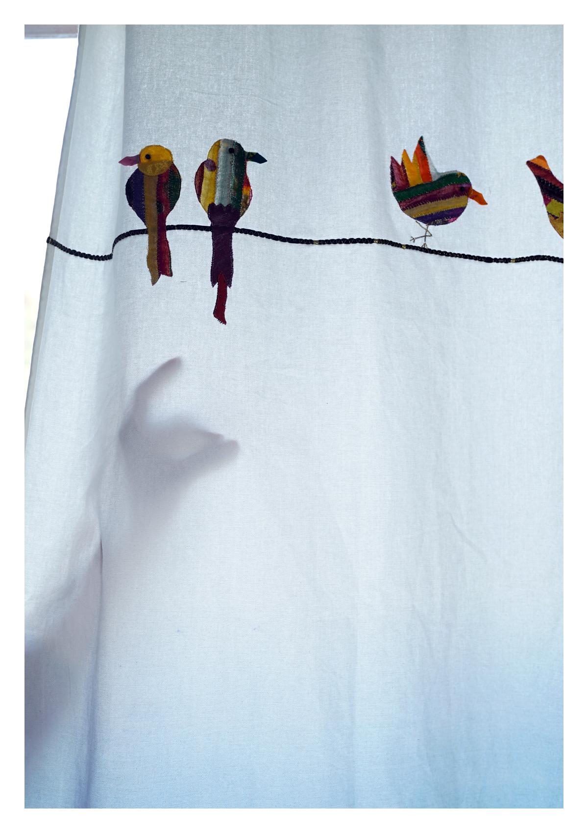Pheasant Ombre Blue canvas Curtain