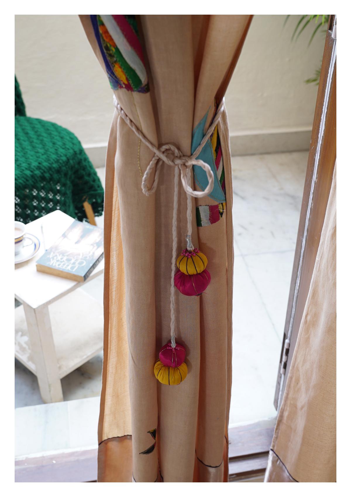 Nelumbo Beige Linen Curtain