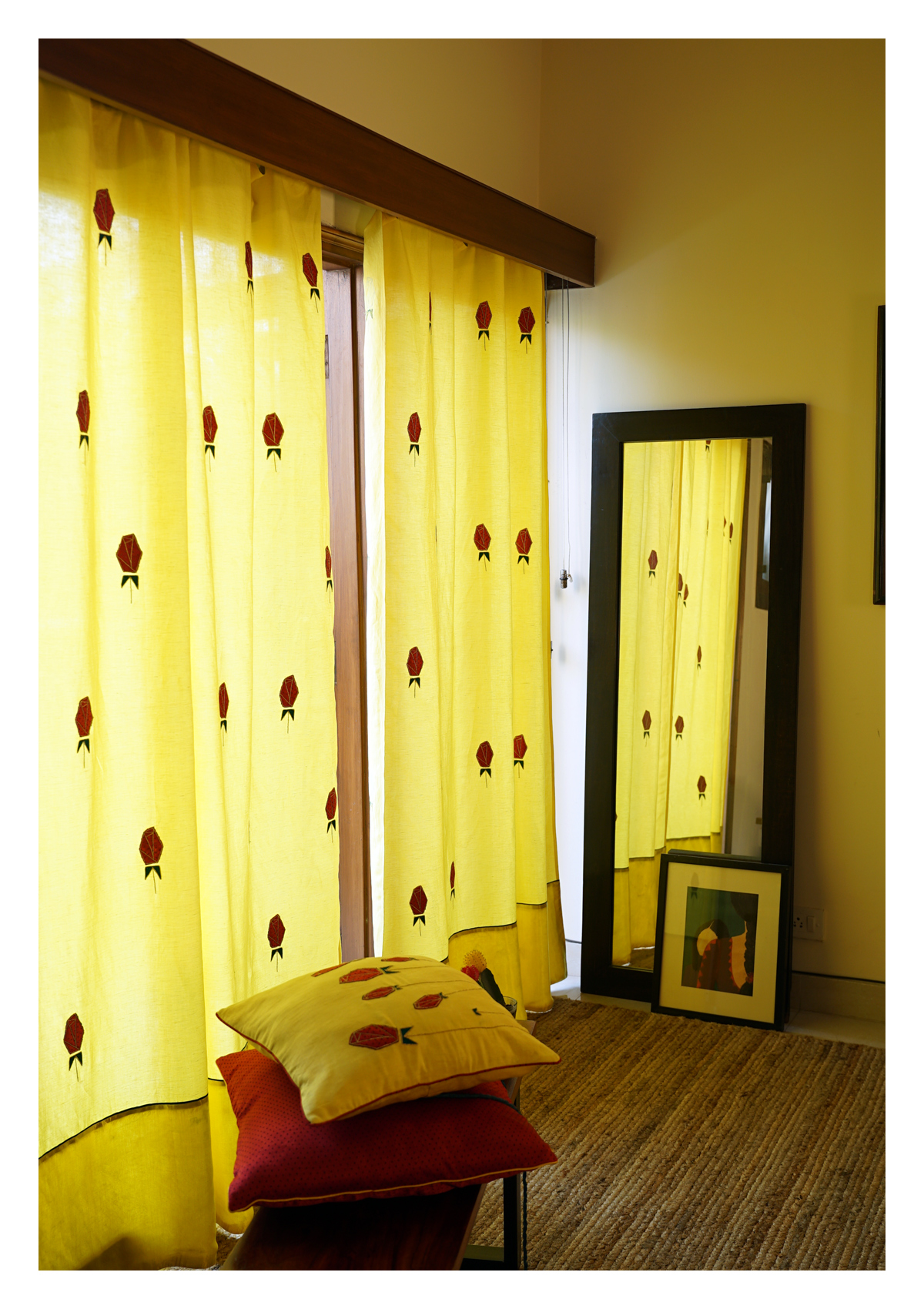 Water Lily Yellow Linen Curtain