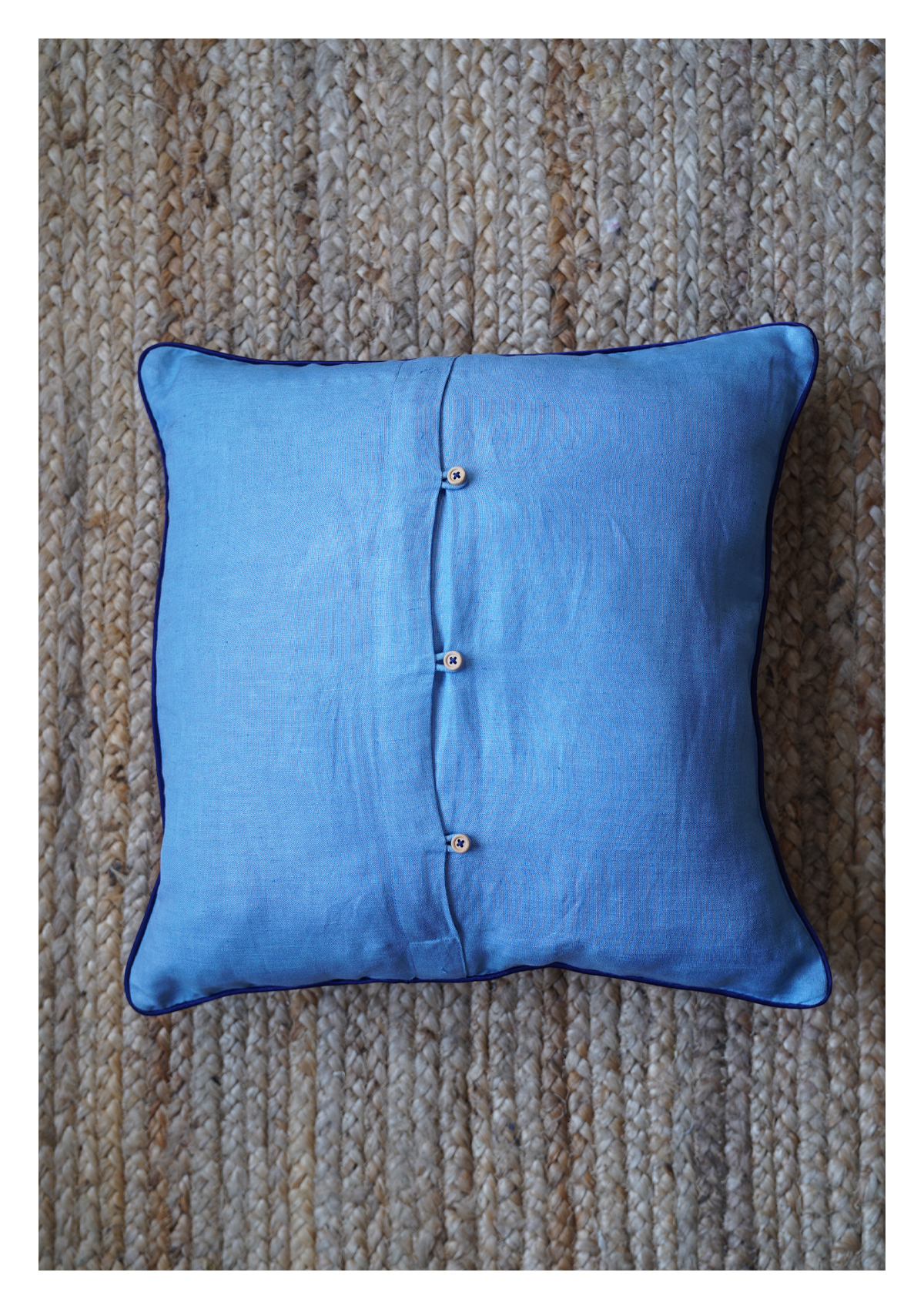 Starling Blue Linen Cushion Cover