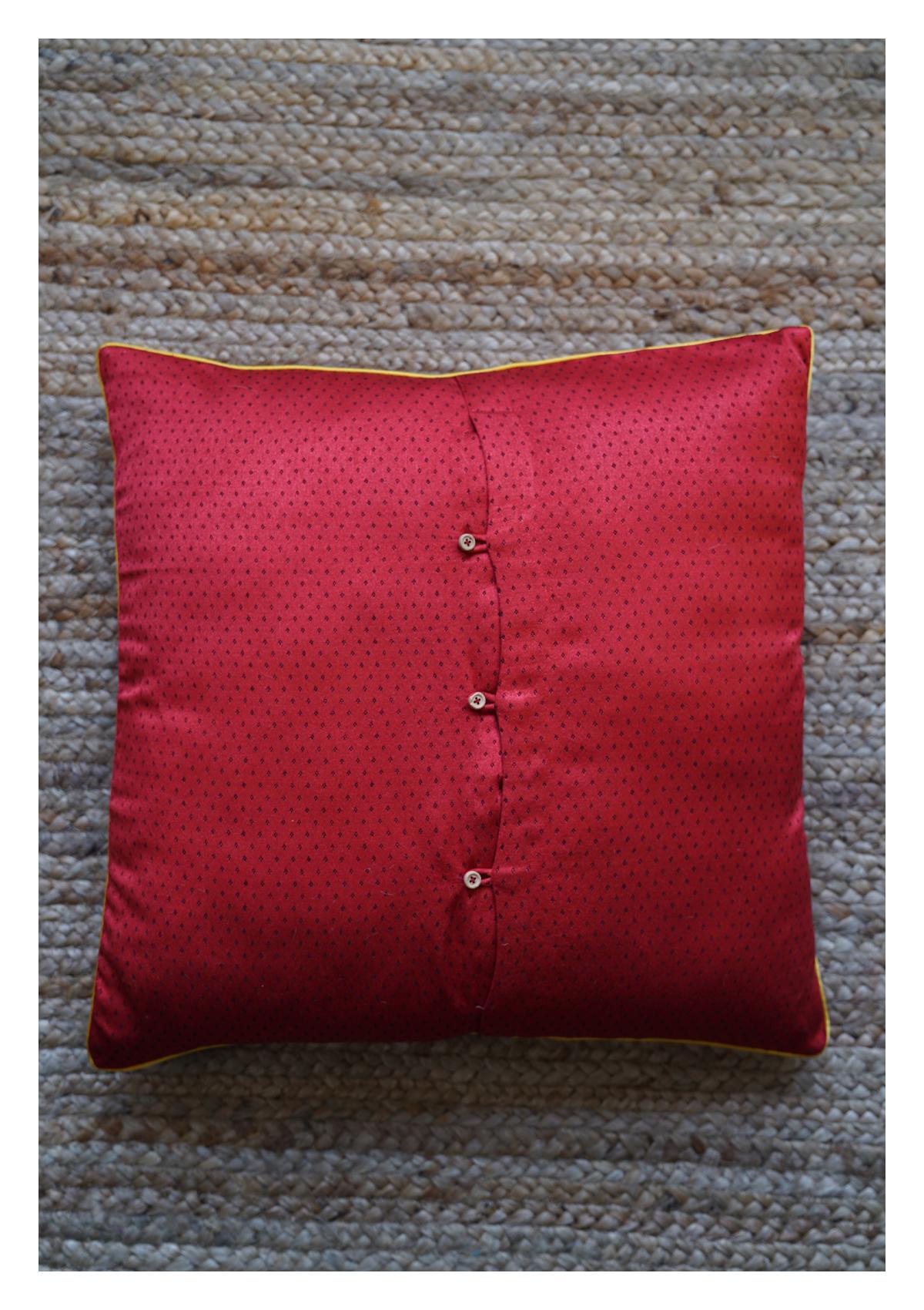 Zindafel Red Mashru Cushion Cover
