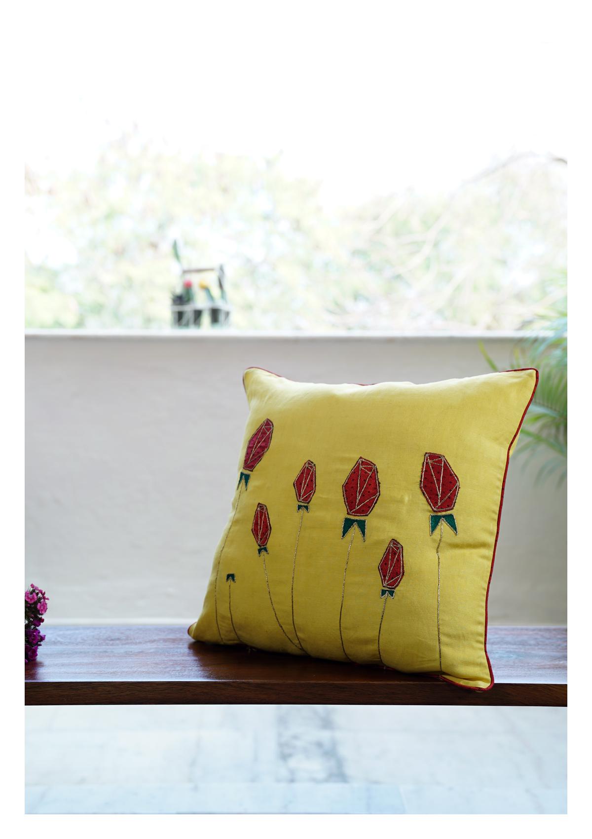 Queen Lotus Yellow Linen Cushion Cover