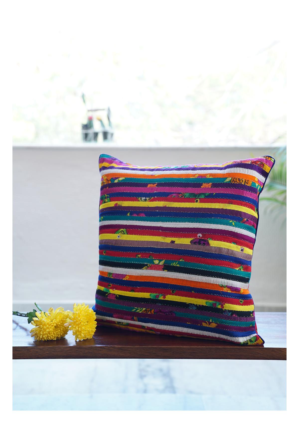 Lace Gem Multicolor Cotton Cushion Cover