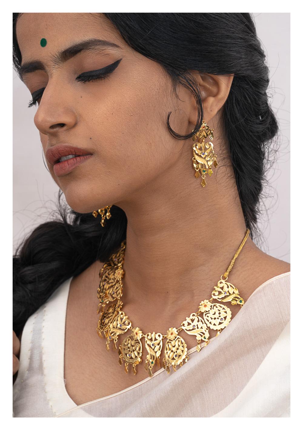 Kashti Gold Tone Silver Necklace & Earrings Set