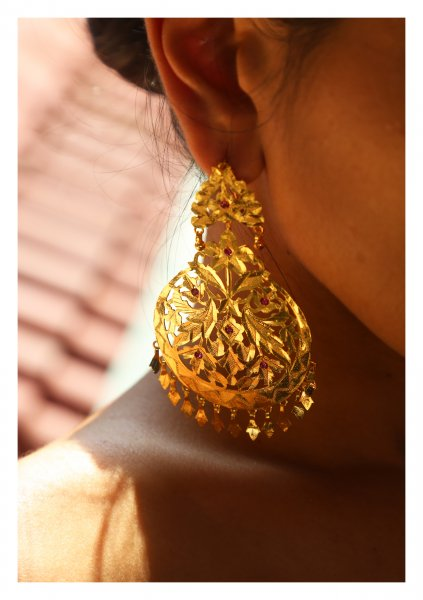 Naseera Handmade Gold Tone Silver Earrings