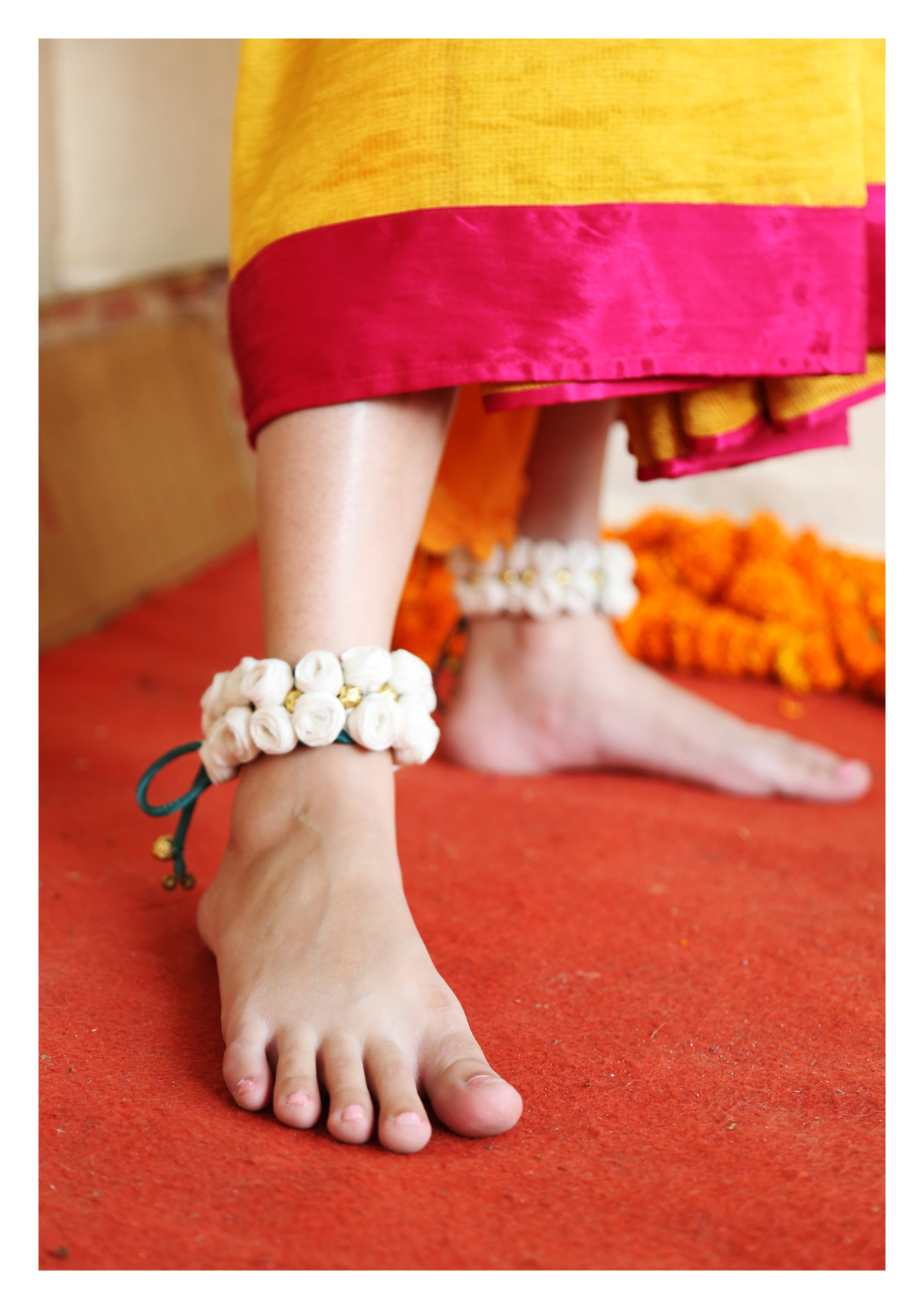 Horus White Rose Textile Anklets (set of 2)