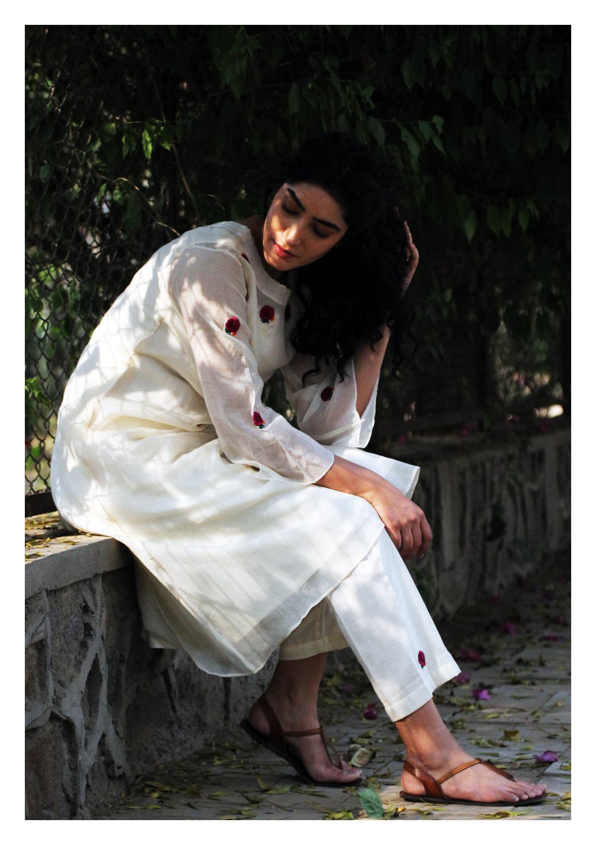 Zaria White Kurta Pajama Set