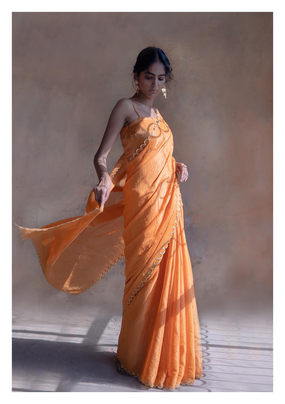 Cantaloupe Orange Tissue Chanderi Saree