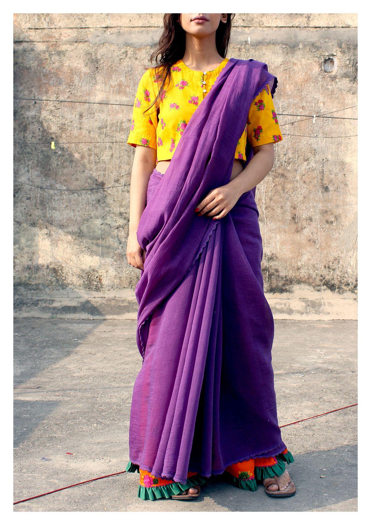 Ganga Purple Chanderi Cotton Saree