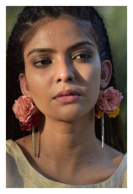 Gardenia Textile Handmade Earrings