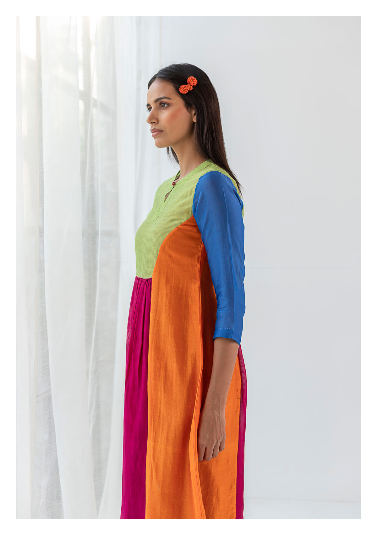 Aksa Multicolored Chanderi Dress