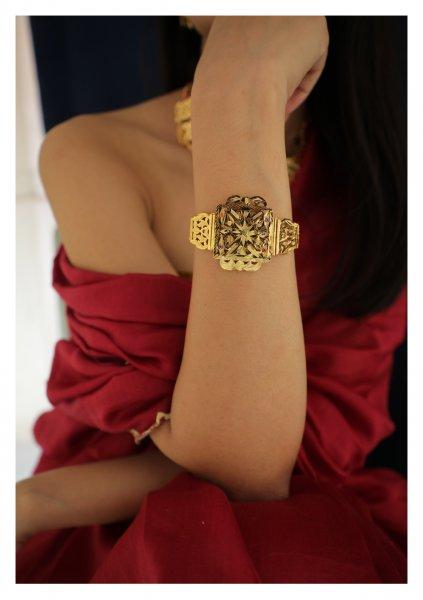 Maira Handmade Gold Tone Silver Bracelet