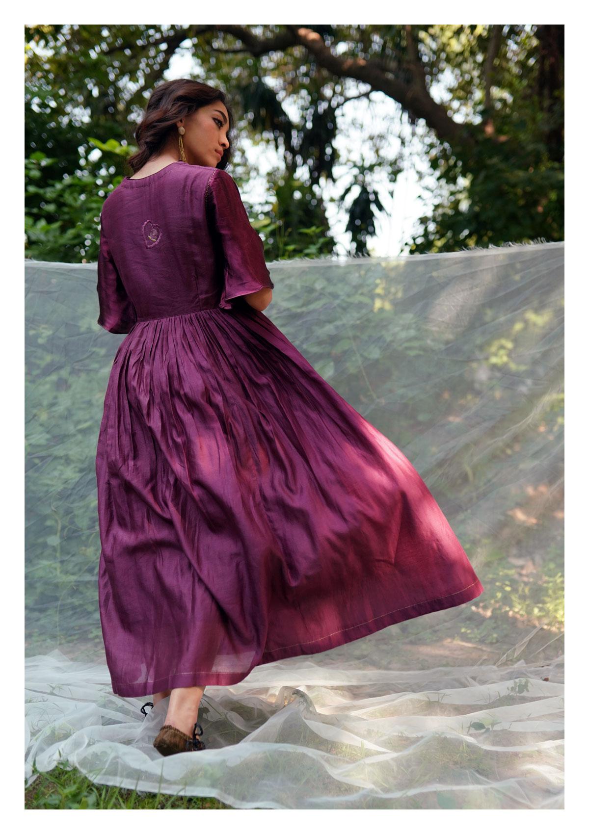 Grape Wine Chanderi Dress