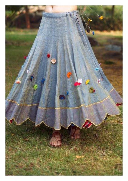 Paradise Grey Gold Tissue Chanderi Skirt