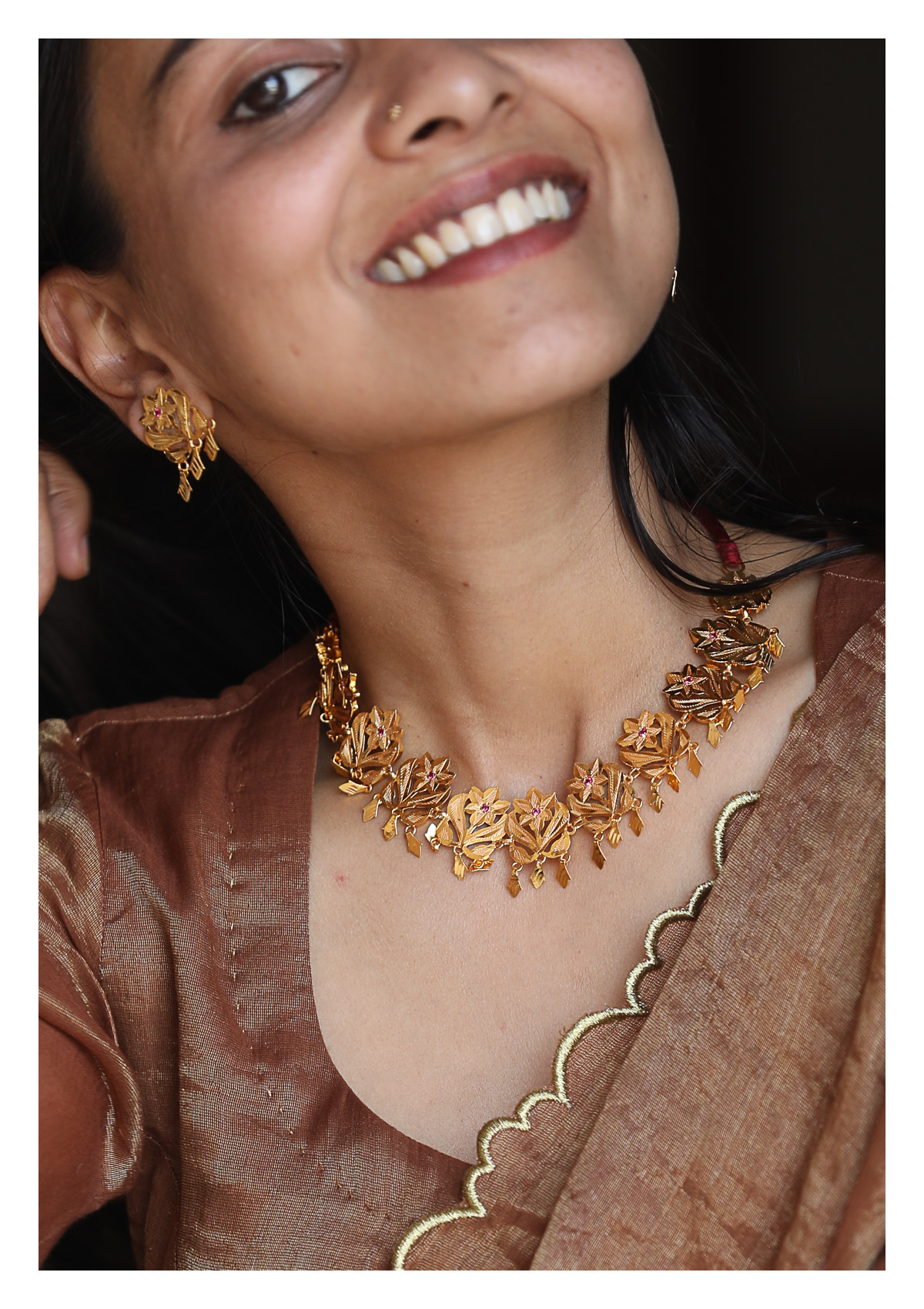 Padma Gold Tone Silver Necklace & Earrings Set